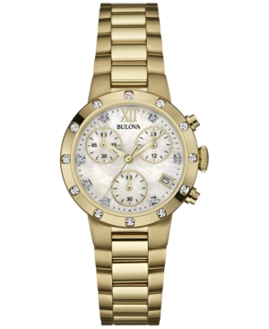 Bulova Women's Chronograph Diamond Accent Gold-Tone Stainless Steel Bracelet Watch 30mm 98R216