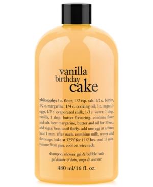 philosophy vanilla birthday cake ultra rich 3-in-1 shampoo, body wash, and bubble bath, 16 oz.