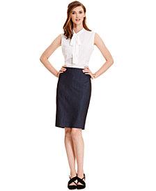 Anne Klein Tie-Neck Blouse & Faux-Denim Pencil Skirt