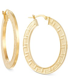 Italian Gold Greek Key Hoop Earrings in 14k Gold