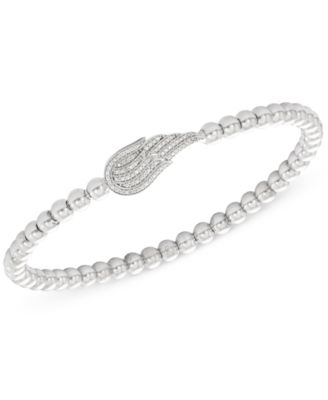 Diamond (1/6 ct. t.w.) and Bead Angel Wing Stretch Bracelet in Sterling Silver, Created for Macy's
