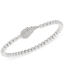 wrapped™ Diamond (1/6 ct. t.w.) and Bead Angel Wing Stretch Bracelet in Sterling Silver, Created for Macy's