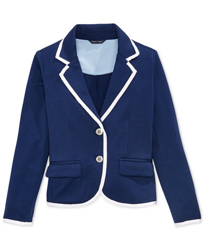 Tommy Hilfiger Contrast-Trim Blazer, Big Girls - Coats & Jackets ...