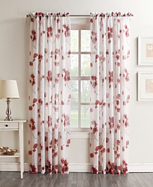 "Bimini Textured Floral Sheer Voile Curtain 51"" x 84"" Panel"