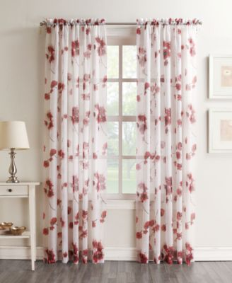 Lichtenberg Bimini Textured Floral Sheer Voile Curtain Panel Collection