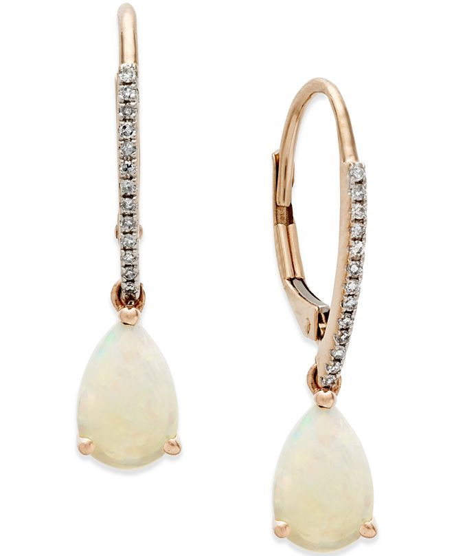 Macy's Opal (1 ct. t.w.) and Diamond Accent Drop Earrings in 14k Rose Gold