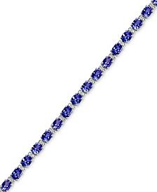 EFFY® Tanzanite (8-7/8 ct. t.w.) and Diamond (1/4 ct. t.w.) Tennis Bracelet in 14k White Gold, Created for Macy's