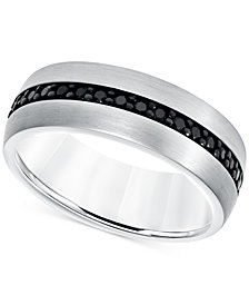 Black Sapphire Band (7/8 ct. t.w.) in White Tungsten Carbide