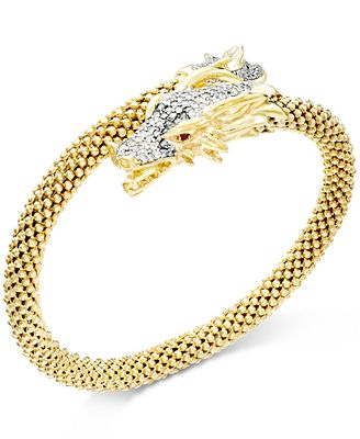Diamond Dragon Bypass Bracelet 1 ct t w in 14k Gold over