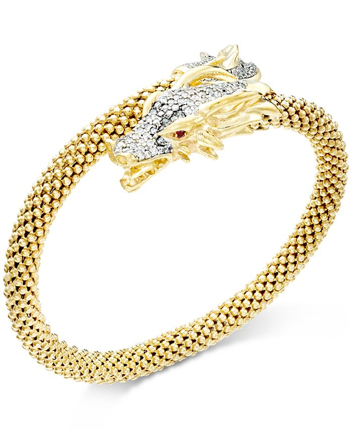 Macy's - Diamond Dragon Bypass Bracelet (1 ct. t.w.) in 14k Gold over Sterling Silver