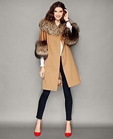 Fox-Fur-Trim Wool Walker Coat