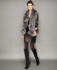 The Fur Vault Fox-Trim Knitted Chinchilla Fur Vest