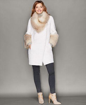 The Fur Vault Fox-Trim Beaver Fur Coat