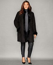 The Fur Vault Plus Size Shearling Lamb Stand-Collar Coat