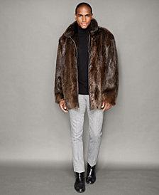 The Fur Vault Mens Beaver Fur Bomber Jacket