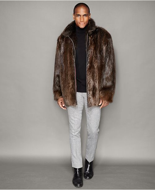 The Fur Vault Mens Beaver Fur Bomber Jacket