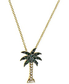 Seaside by EFFY® Green and White Diamond Palm Tree Necklace (1/10 ct. t.w.) in 14k Gold
