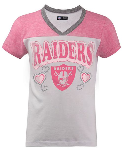new arrival 2eac4 bffbc 5th & Ocean Oakland Raiders Pink V-Neck T-Shirt, Girls (4-16 ...