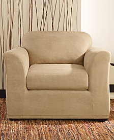 Sure Fit Stretch Faux Leather Separate Seat T-Cushion Chair Slipcover