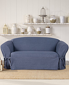 Sure Fit Authentic Denim One Piece T-Cushion Loveseat Slipcover