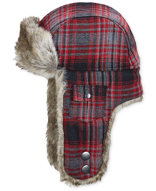 5ad23bf0913 Woolrich Plaid Arctic Trapper Hat with Faux-Fur Earflaps - Hats ...