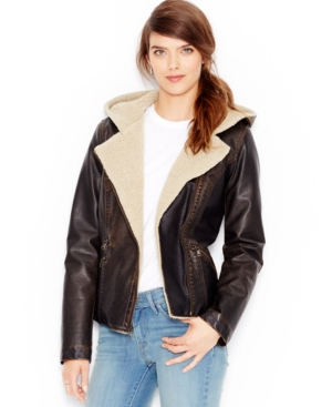 1930s Style Coats, Jackets | Art Deco Outerwear Levis Faux-Leather Hooded Moto Jacket $79.99 AT vintagedancer.com