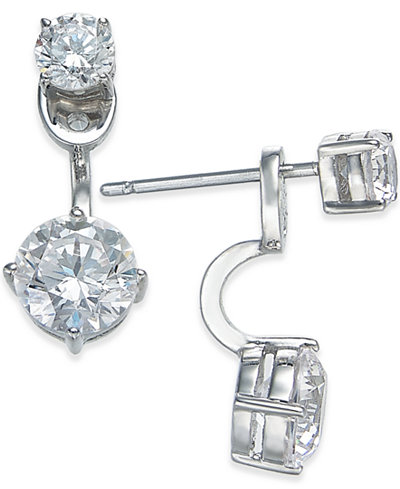 Danori Silver-Tone Double Crystal Front Back Earrings