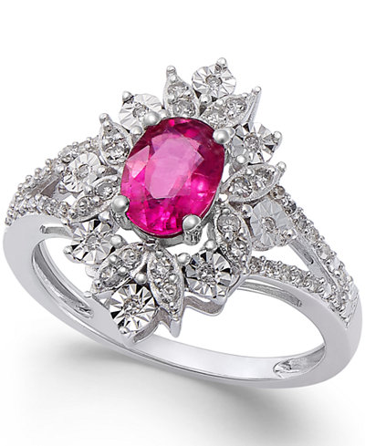 Ruby (1 ct. t.w.) and Diamond (1/5 ct. t.w.) Split Shank Ring in 14k White Gold