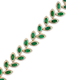 EFFY Emerald (10-4/5 ct. t.w.) and Diamond (2-1/2 ct. t.w.) Tennis Bracelet in 14k Gold