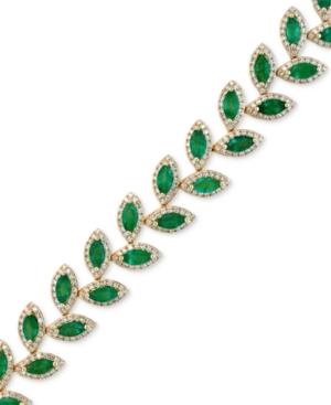 Effy Emerald (10-4/5 ct. t.w.) and Diamond (2-1/2 ct. t.w.) Tennis Bracelet in 14k Gold