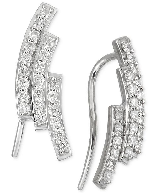 Macy's Diamond Three-Row Ear Crawlers (1/2 ct. t.w.) in 14k White Gold