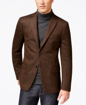 Lauren Ralph Lauren Brown Herringbone Soft Classic-Fit Jacket ...
