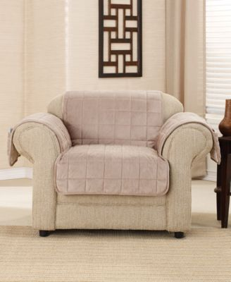 Sure Fit Deep Pile Polyester Velvet With Non Skid Paw Print Pet Back Chair  Furniture