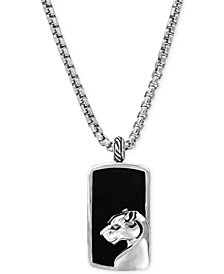 EFFY Men's Onyx Panther Pendant Necklace in Sterling Silver
