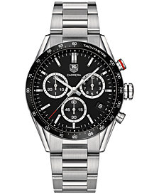 TAG Heuer Men's Swiss Chronograph Carrera Stainless Steel Bracelet Watch 43mm CV1A10.BA0799 - Panamericana Special Edition