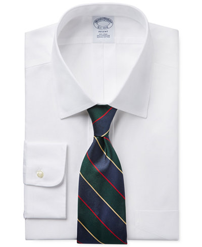Brooks Brothers Regent Slim-Fit Non-Iron White Pinpoint Solid Dress Shirt and Multi Stripe Tie