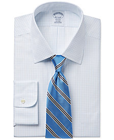 Brooks Brothers Regent Slim-Fit Non-Iron Light Blue Grid Check Dress Shirt and Thin Stripe Tie