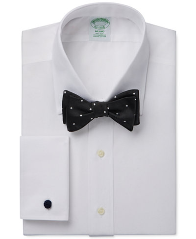 Brooks Brothers Milano Extra-Slim Fit Non-Iron French Cuff Dress Shirt and Repp Dot To-Tie Bow Tie