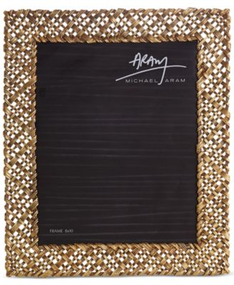 "Antique Gold-Tone 8"" x 10"" Palm Frame"