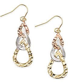 Tri-Tone Hammered Teardrop Earrings in 10k Gold
