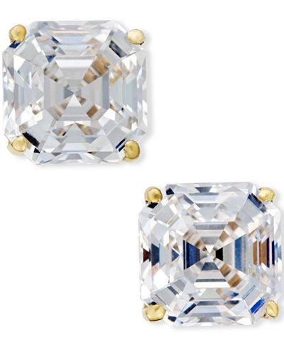 Cubic Zirconia Stud Earrings in 14k Gold