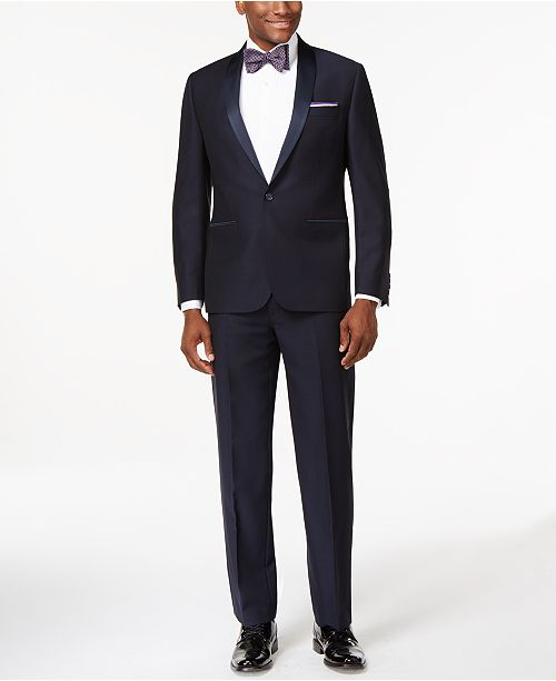 Ryan Seacrest Distinction Navy Textured  Modern-Fit Tuxedo Separates, Created for Macy's