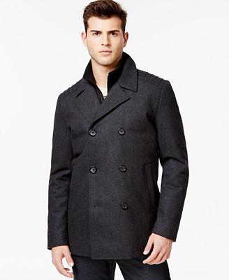 GUESS Wool-Blend Peacoat - Coats & Jackets - Men - Macy's