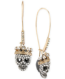 Betsey Johnson Two-Tone Pavé Skull Long Drop Earrings
