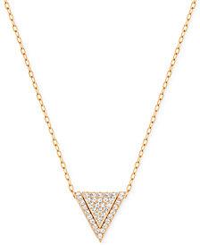 Swarovski Rose Gold-Tone Pavé Triangle Pendant Necklace
