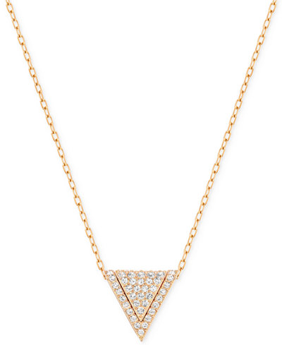 Swarovski Rose Gold Tone Pav 233 Triangle Pendant Necklace