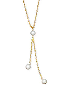 Cultured Freshwater Pearl Rope Chain Lariat Necklace in 14k Gold (6mm)