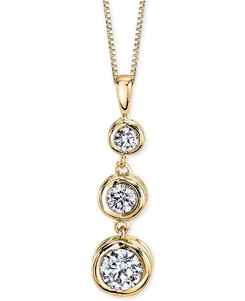 Sirena energy diamond three stone pendant necklace 13 ct tw in main image aloadofball Image collections