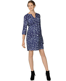 Collective Concepts Maternity Split-Neck Belted Dress