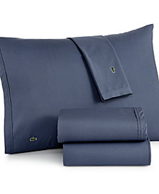 Lacoste Solid Cotton Percale Queen Sheet Set